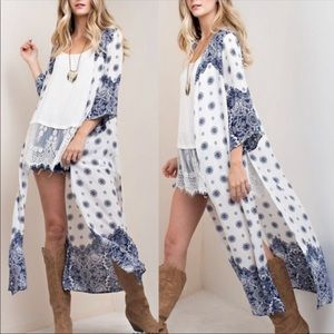 Other - White & Blue print duster/cardigan